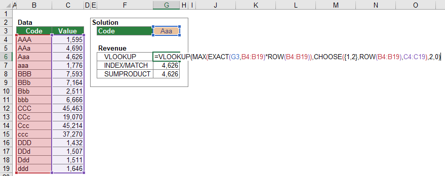 Example for the case-sensitive VLOOKUP formula.