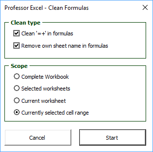 Clean all Excel formulas with 'Professor Excel Tools'.