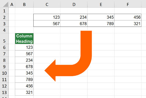 Copy table to one column in Excel