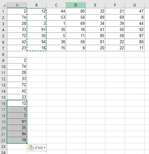 Copying and pasting a table to one column manually might be the fastest method.