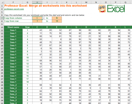 Merge Sheets: Copy this worksheet into your Excel file and all sheets are merged automatically.