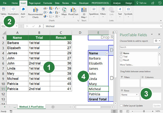 Steps for using a PivotTable to count the number of unique records.