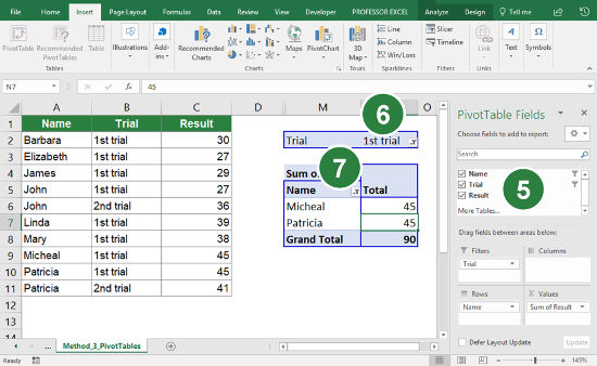 Steps for using a PivotTable to count the number of unique records under several conditions.