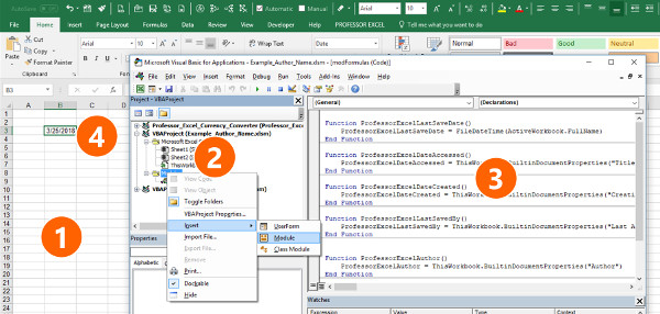 Insert Author Name, Date Last Saved, File Size into Excel