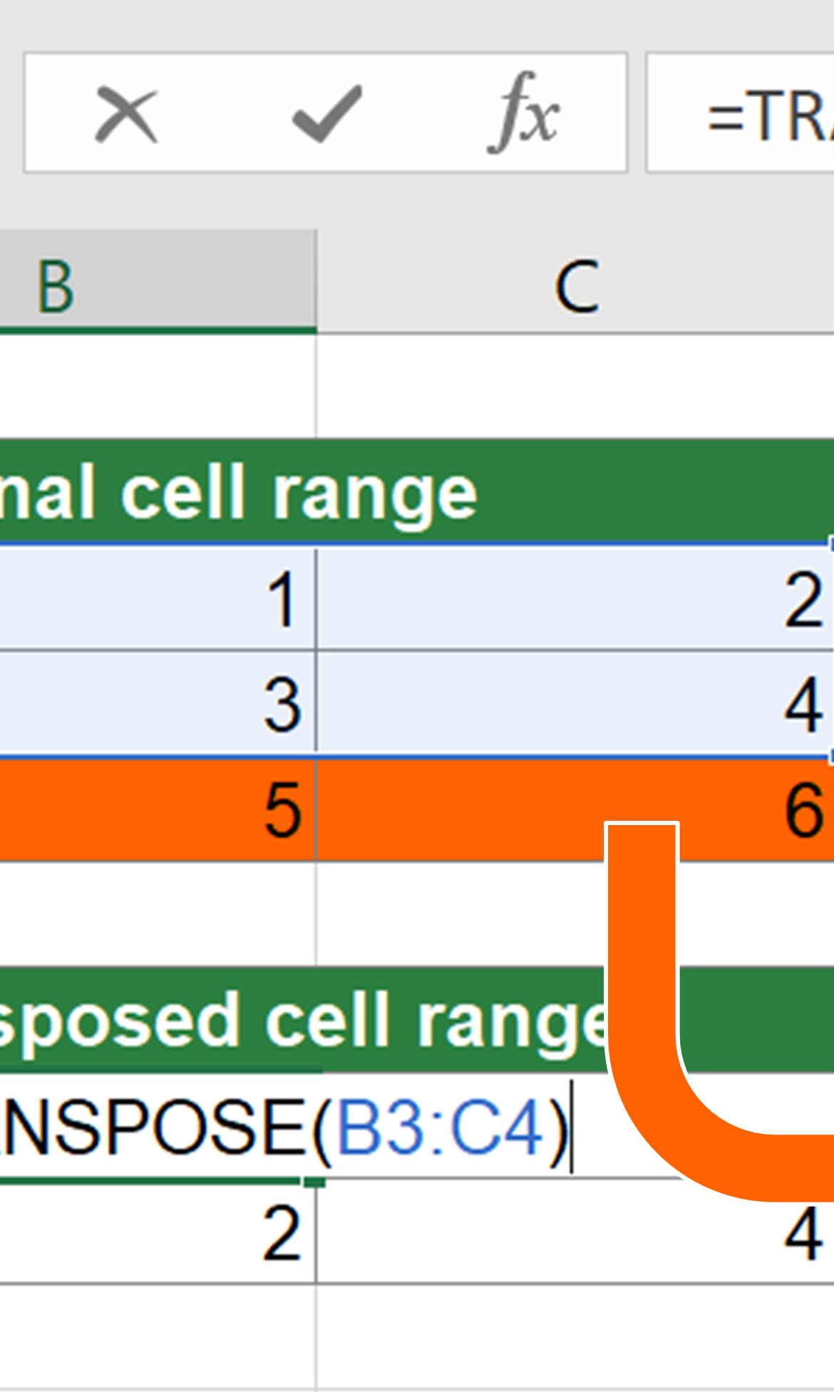 Example for resizing multi-cell array formulas.