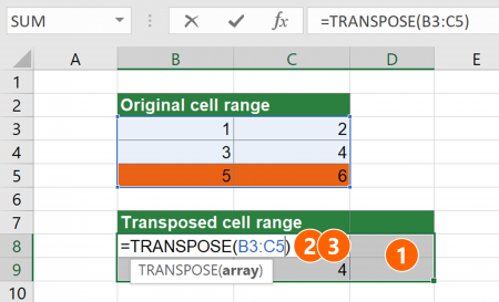 Steps for changing the size of a multi-cell array formula.
