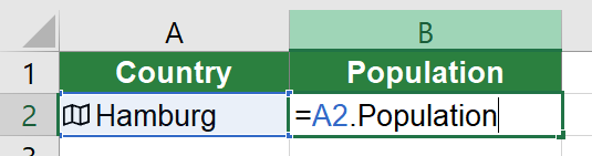 Example for inserting a data type not using the FIELDVALUE formula.