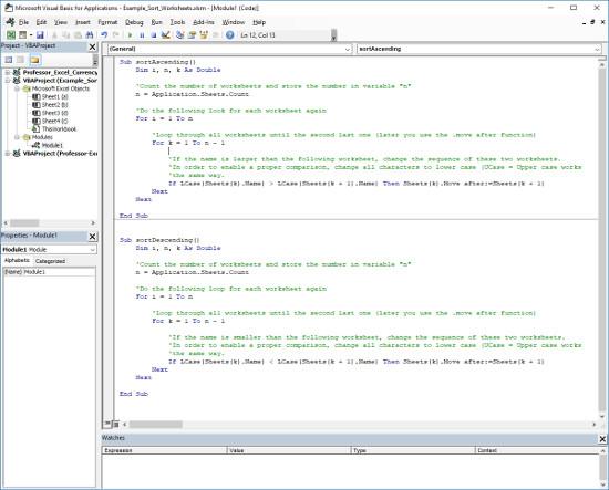Sort sheets in Excel using a VBA macro.