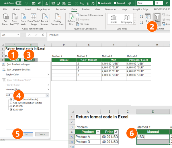 Steps for reading out the number format codes manually in Excel.