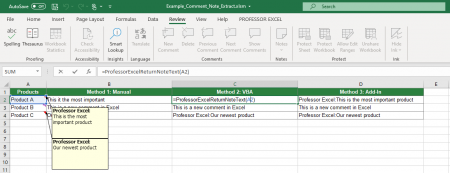 Extract comment text with a simple VBA code.