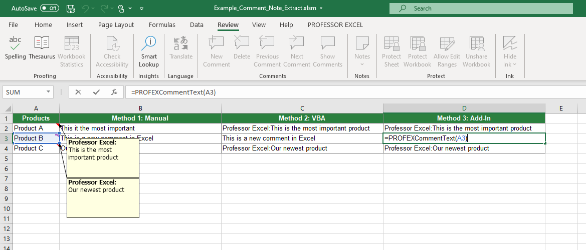 Download an Excel file with examples for all three methods of extracting comment texts in Excel.