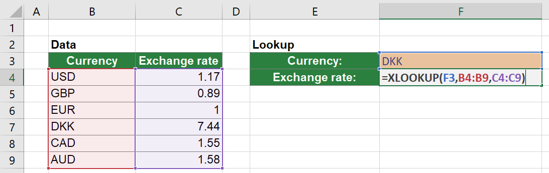 Simple XLOOKUP example