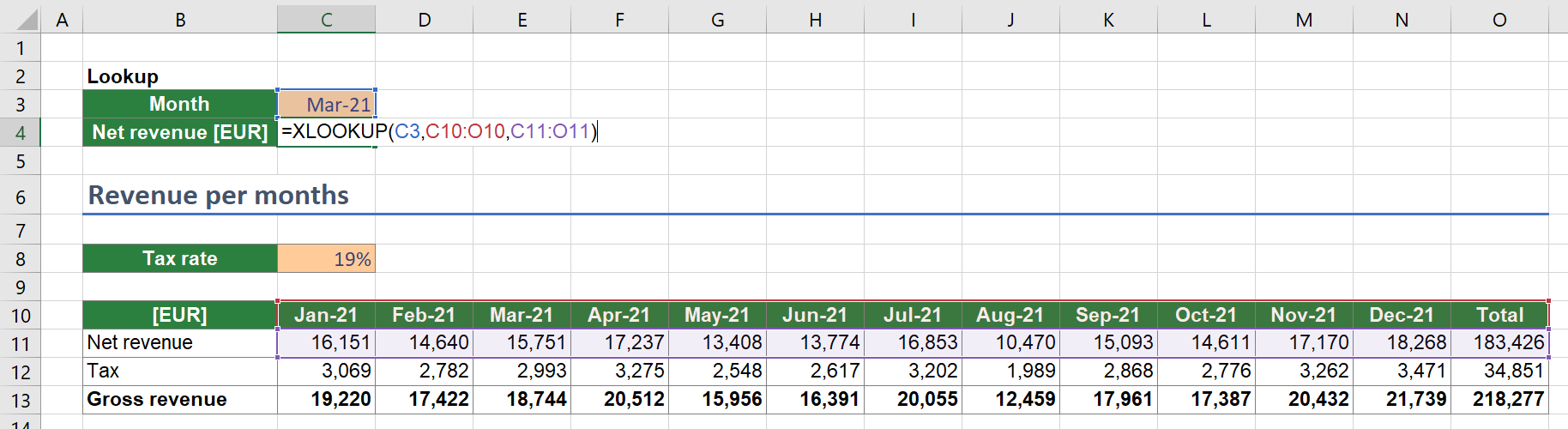 Example for a horizontal XLOOKUP function in Excel.
