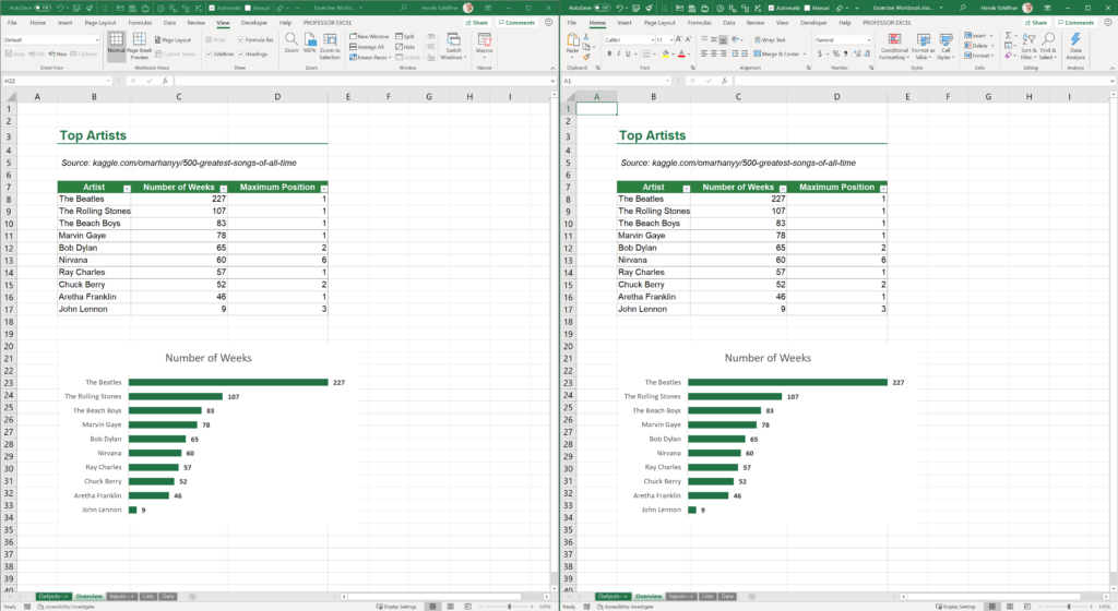 You can show the Excel file in two windows. If you use multiple displays, you can put each window on one screen.