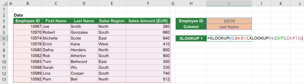 Solution: This is a possible solution for 2D XLOOKUPs in Excel.