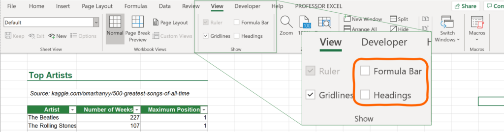 Present Excel file with hidden formula bar.