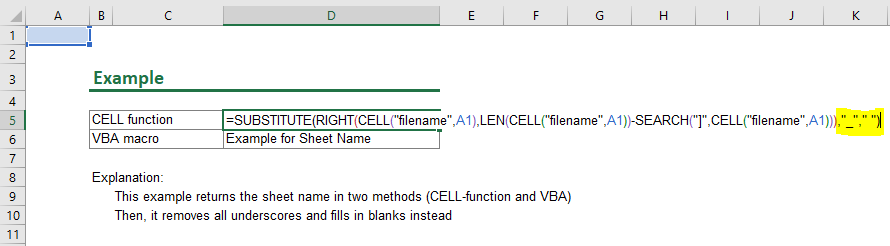 Cleaning and inserting the worksheet name from underscores.