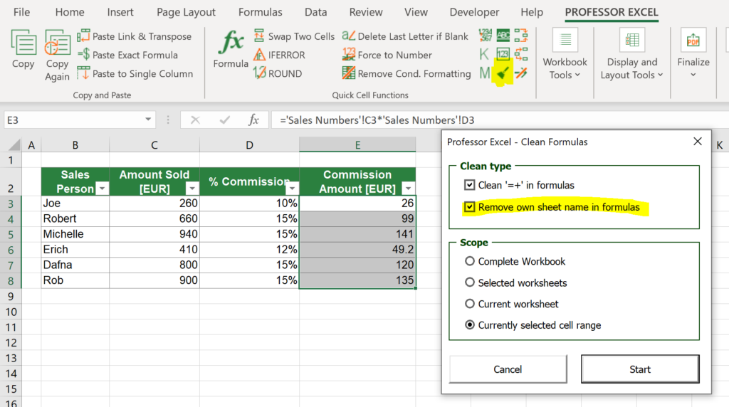 Professor Excel Tools can automatically clean the functions and remove own worksheet names.