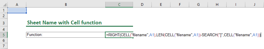 Insert a sheet name with the cell function.