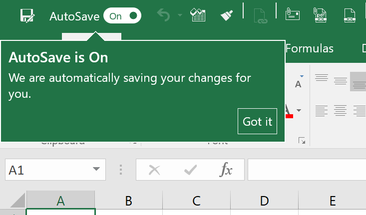 """If you only want to disable the AutoSave function for the current workbook in Excel, click on """"Off"""" in the Quick Access Toolbar."""