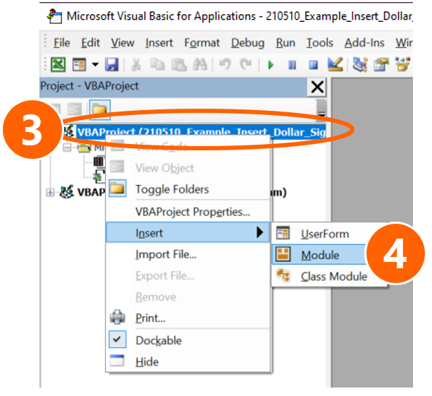 Insert a new module in VBA.