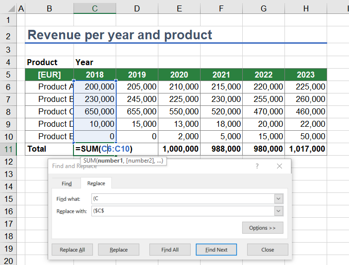 Copy and Replace can only help a bit when converting relative to absolute references in Excel.