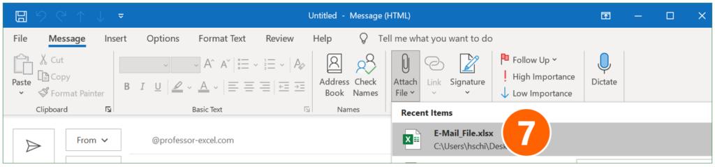 Attach file to a new e-mail.