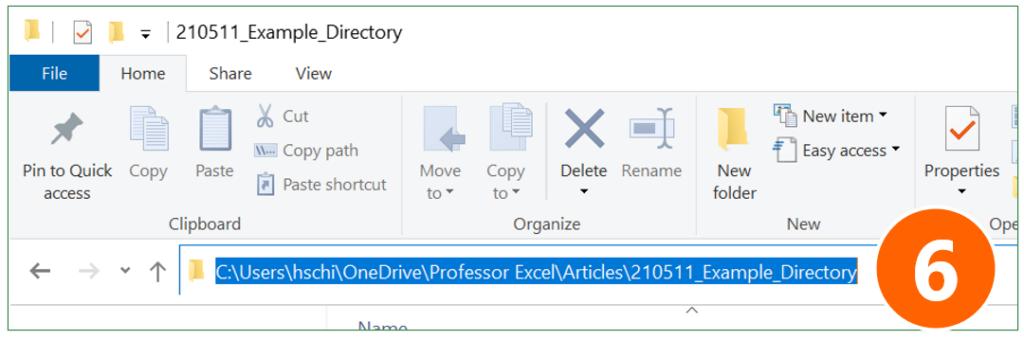 Copy the folder path from Windows Explorer.