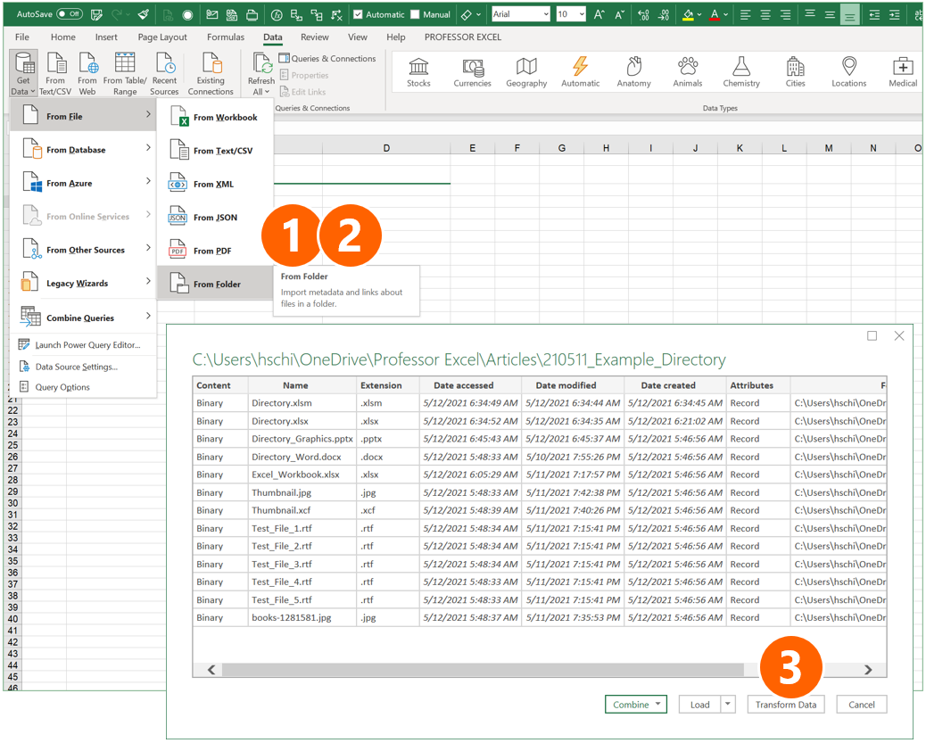 PowerQuery can also create lists of all files and folders, including subfolders.