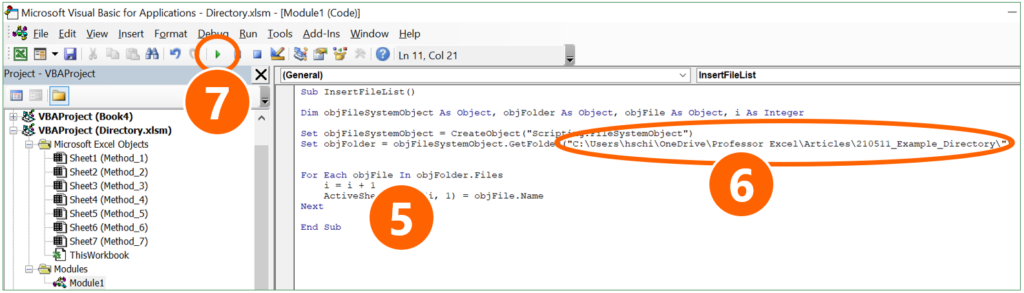 """Paste the code sample from above, replace """"Your folder path"""" and run the macro."""