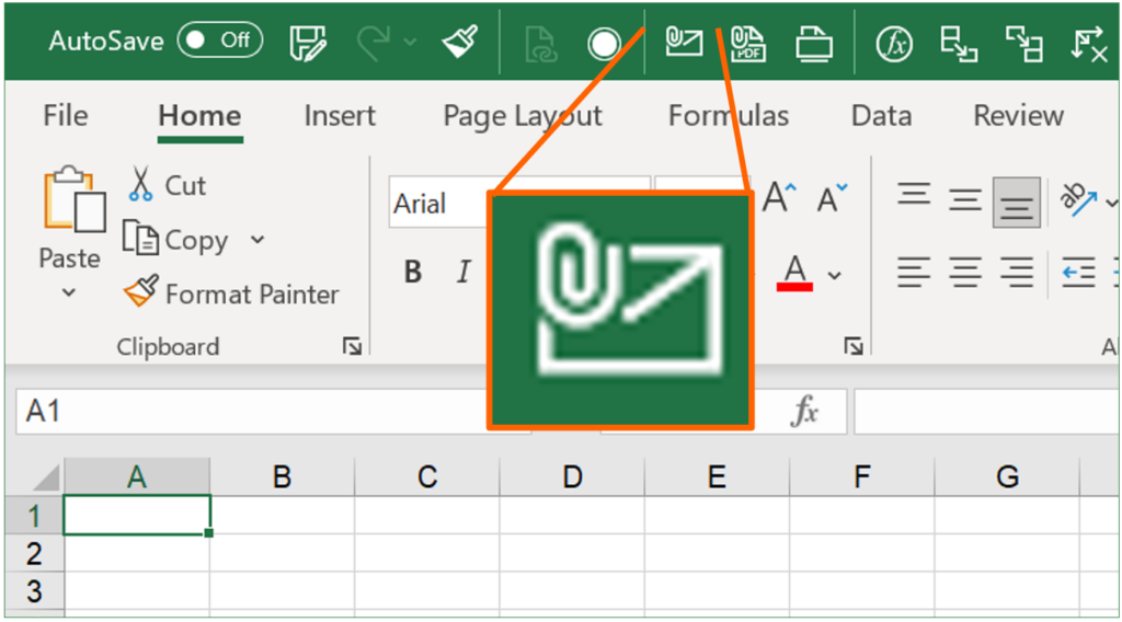 Add the e-mailing button the the Quick Access Toolbar in order to quickly send the entire Excel workbook.