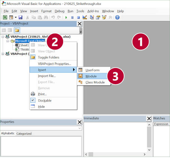 Steps for inserting a new VBA module in Excel.