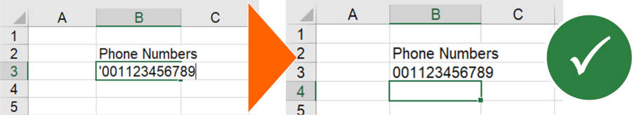 Insert a single quotation mark when typing phone numbers in Excel.