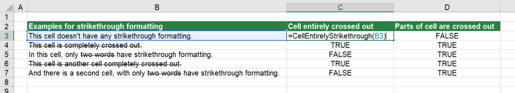 Return TRUE if the entire cell has strikethrough formatting.