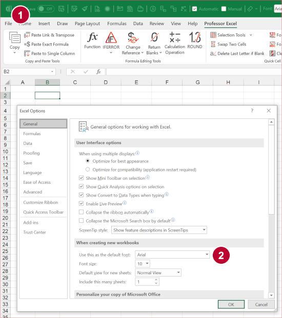 Change the default font for new Excel workbooks.