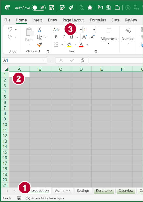 Change the font on all sheets by selecting all cells and changing the font.
