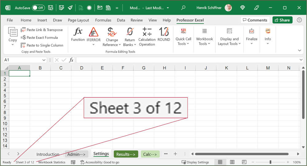 Show the current sheet number and total number of worksheets in the bottom-left corner of the Excel window.