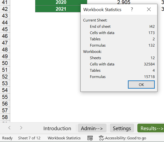"""""""Workbook Statistics"""" shows a summary of the Excel file."""