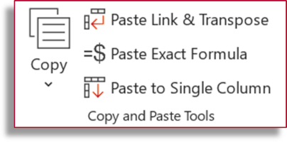 copy and paste features in Professor Excel Tools