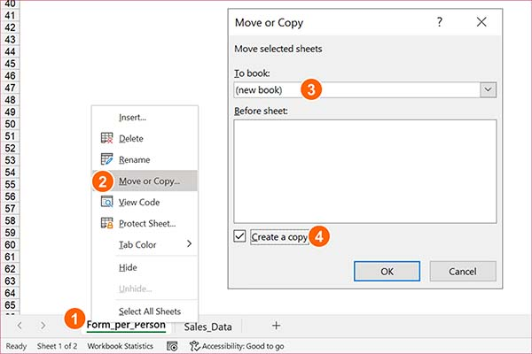 Copy sheet or multiple sheets to a new Excel file.
