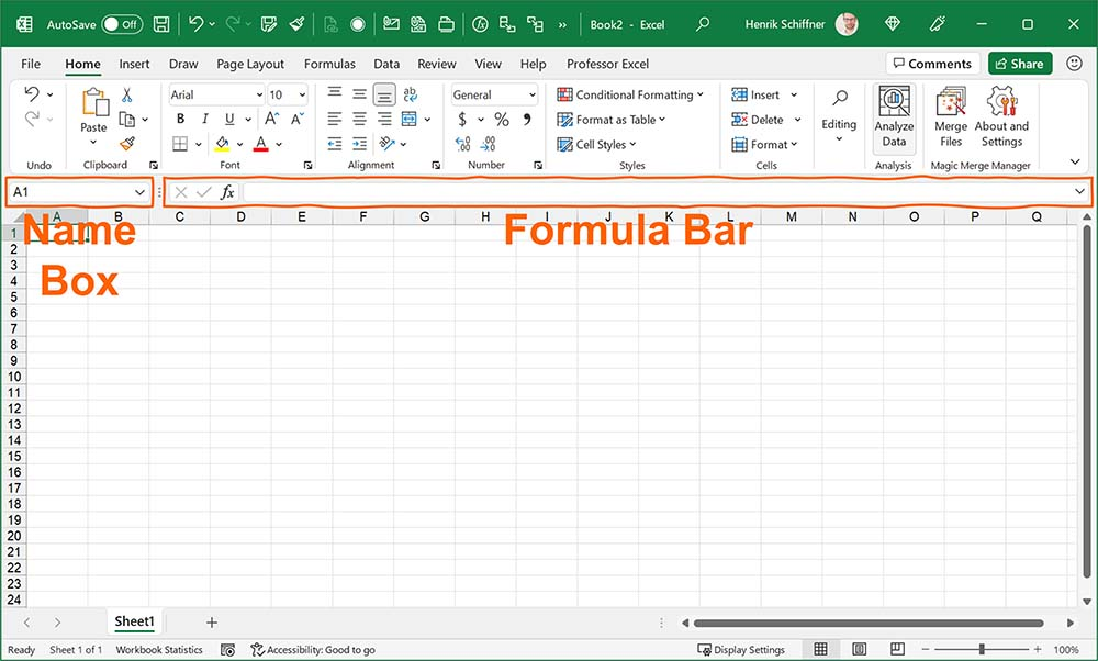 The formula bar in Excel.