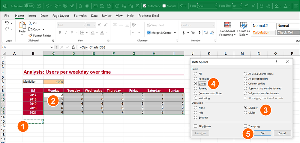 Multiply workaround: Preparation to use the Find & Replace feature in Excel.