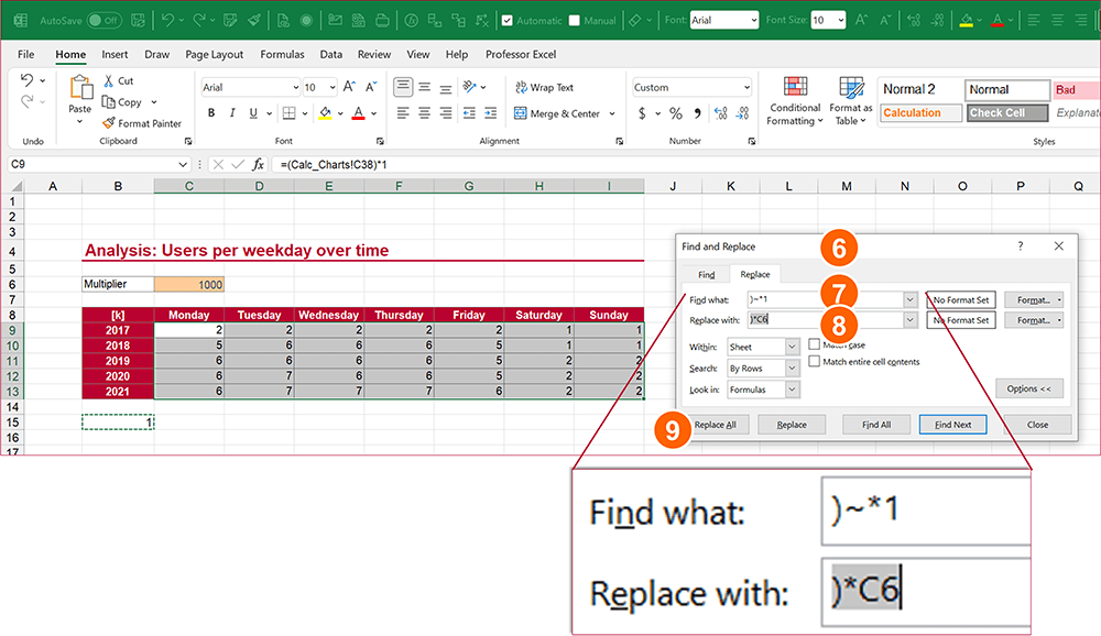 Use the Find & Replace function to multiply by a cell reference instead of 1.