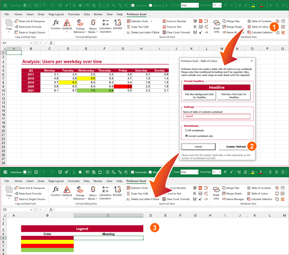 Easily insert a legend with the Excel add-in Professor Excel Tools.