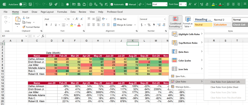 Easily remove conditional formatting from selected cells or the entire sheet.