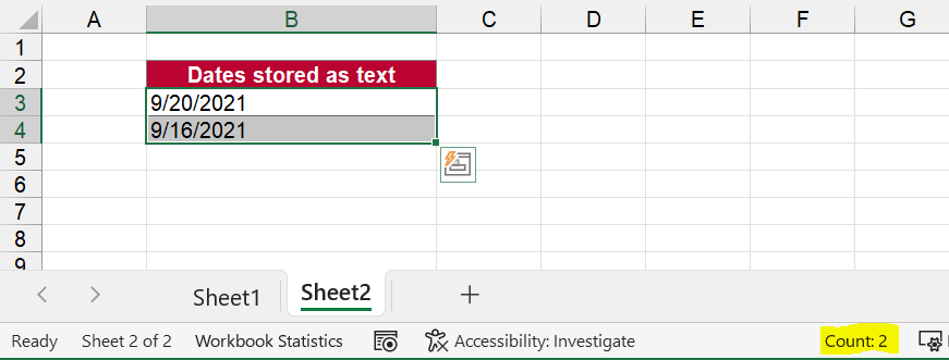 Dates recognized as text and not dates.