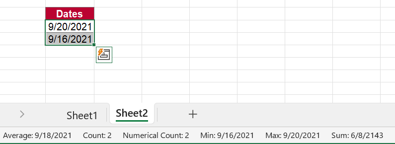 These two selected cells are correctly recognized as date cells.