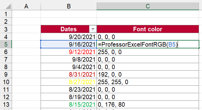 Return the RGB value of the font color.