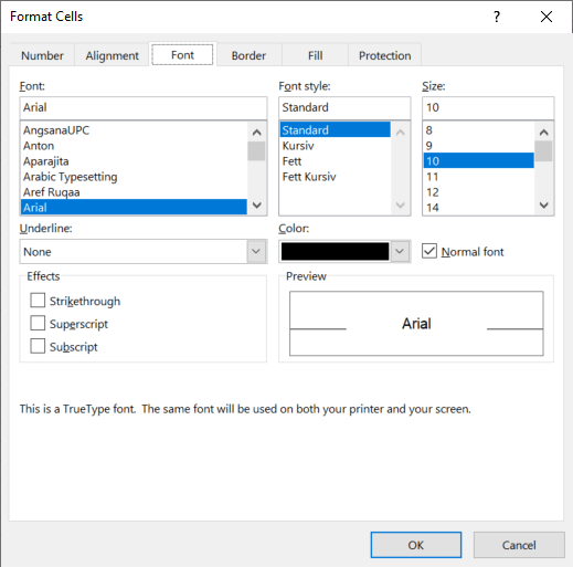 The Format Cells window offers very detailed formatting options.