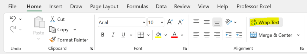 """Activate """"Wrap Text"""" in order to see line breaks entered in Excel formulas (with CHAR(10))"""